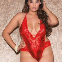 iCollection Lingerie Plus size Double Dare Halter deep V lace and metallic microfiber teddy