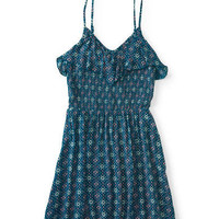 Printed Ruffle Smock Dress - Aeropostale