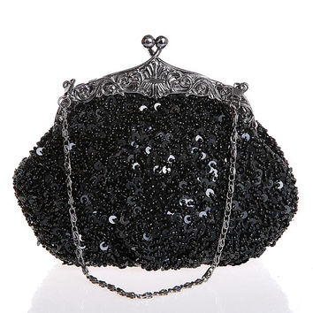 Black Beaded Clutch purse-wedding clutch purse-evening bag-hand made