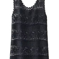 Black Crochet Lace Scalloped Sleeveless Top