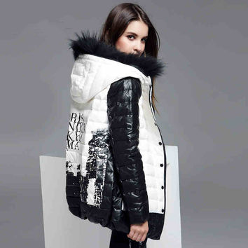 Brand Winter Jacket Women With Real Raccoon Fur Hooded Short Print Parka Women Jackets warm women plus size winter coats 5xl