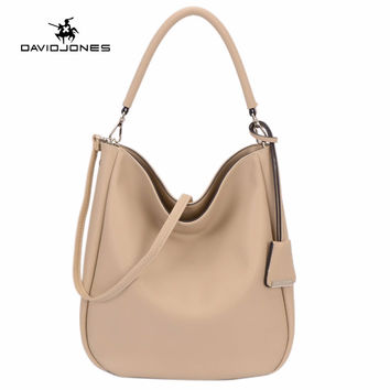 DAVIDJONES Women PU Hobo Bag Fashion shoulder bag High Quality Handbag Casual Large Capacity Tote Female Vintage crossbody bag