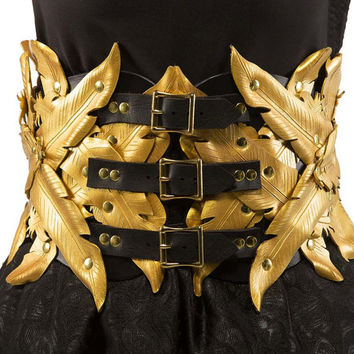 Seraphim Feather Gold and Black Leather Couture Corset Belt