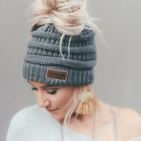 Messy Bun Knitted Beanie - Charcoal