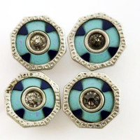 Art Deco Cuff Links Blue Enamel Geometrics Clear Rhinestones Silver Snap On Vintage