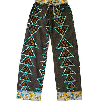 Soft Cotton African Lounge Pants - Triangle