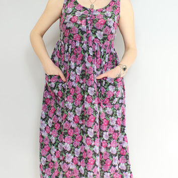 90s - Indian Cotton - Pink Purple & Black - Rose Floral - Button Up Bodice - Pockets - Babydoll - Maxi Sun Dress