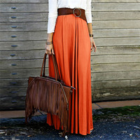 High-Waist Long Flowy A-Line Maxi Skirt