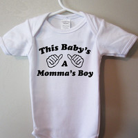 Cute baby bodysuit,this baby's a momma's boy, infant Tshirt, baby clothing, by BlueFoxApparel *