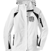 Monogrammed White and Black Winter Coat