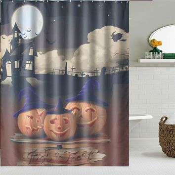 Newest!!!Halloween Waterproof Shower Curtain Bathroom Products Polyester Bath Curtain Home Decoration Gfit