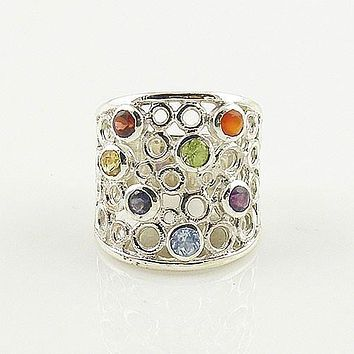 Multi Gemstone Sterling Silver Chakra Ring