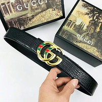 GUCCI Fashion New Stripe GG Buckle Texture Leather Women Men Belt Black