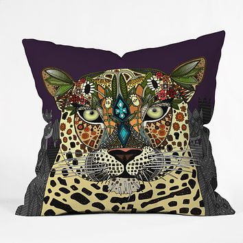 Sharon Turner Leopard Queen Throw Pillow