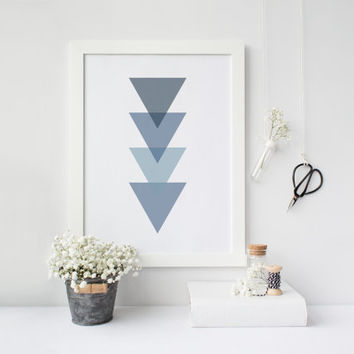 Geometric print, Triangles print, Triangle decor, Scandinavian print, Nordic decor, Blue print, Minimalist print, Triangles poster