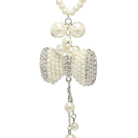 Bow Pearl Crystal Necklace in Pearl – bandbcouture.com