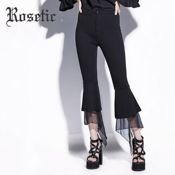 Flare Bottom Lace Ruffle Zipper Patchwork Calf-Length Goth Pant