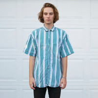 Vintage 80's Surf Stripe Button Up Shirt