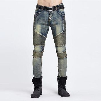 DCCKON3 west styles biker jeans rockMens hip hop swag jeans denim pants male elastic retro joggers washed skinny motorcycle hot