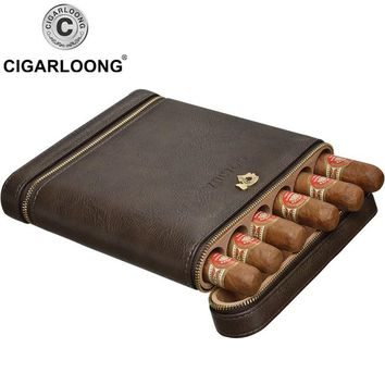 COHIBA free ship New Travel Cigar Case Mini Humidor Holds 6 Cigars Made by PU Leather and Cedar Wood CP-1020