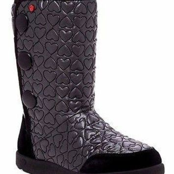DCCK8X2 Brand New UGG Australia Girl's I Heart Puffy Quilted Wool Lining Tall Boot US 5