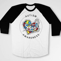 Autism Dad T Shirt Awareness Gifts For Mommy TShirt Autistic Shirt Spectrum Advocate Month Day Ribbon For My Son Baseball Raglan Tee DN-618
