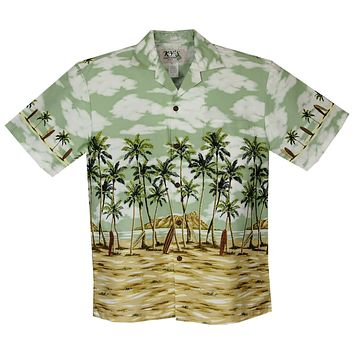 Diamod Head Green Border Hawaiian Shirt