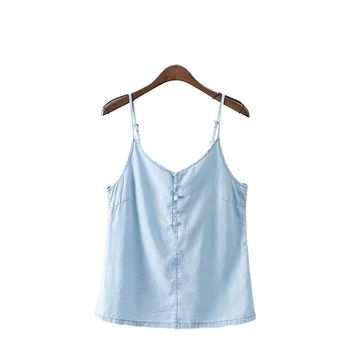 Women vintage blue denim tencel camis tank tops sexy buttons backless spaghetti strap shirts summer casual blouse blusas WT335