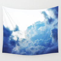 Indigo Sky - Wall Tapestry, Blue Cloud Boho Chic Bungalow Backdrop Accent Hanging, Beach Surf Furnishing Throw Cover. In 51x60 68x80 88x104