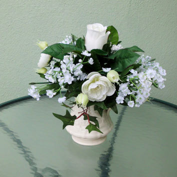 Silk Floral Arrangement, Assorted Flowers, Grecian Pitcher(V10)