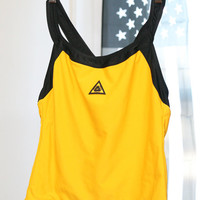 90s Black and Yellow Speedo Swim-Material Racerback Tank Top