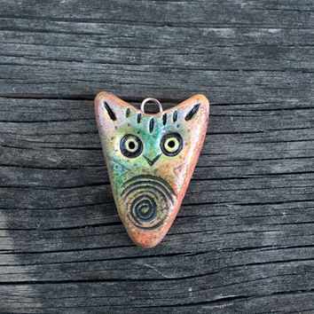 Owl Necklace Pendant Tribal Owl Jewelry Rustic Candy   Rustic Bead Owl Totem Gift Jewelry polymer clay owl jewelry
