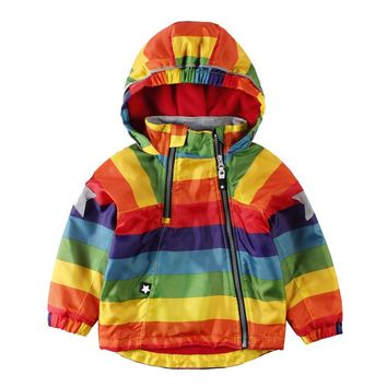 LittleSpring Boys Girls Bomber Jackets Children Colorful Waterproof Raincoat Outdoor Mountaineer Coat Kids Zipper Rainbow Jacket