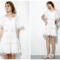 white lace dress,summer dress,short length,high fashion,unique,elegant,limited,half sleeve,for beach,resort,party,date.--E0223