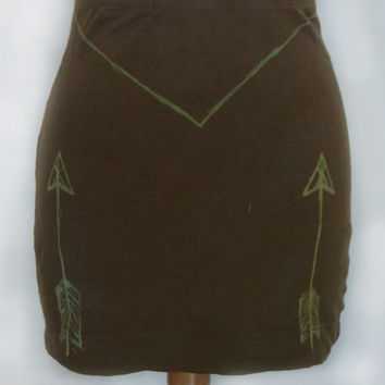 mini skirt ~arrows~triangle~tribal~occult ~dark moss green