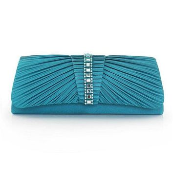 [21.99] In Stock Junoesque Silk Evening Handbags / Clucthes With Acrylic Rhinestones(Blue Color) - dressilyme.com