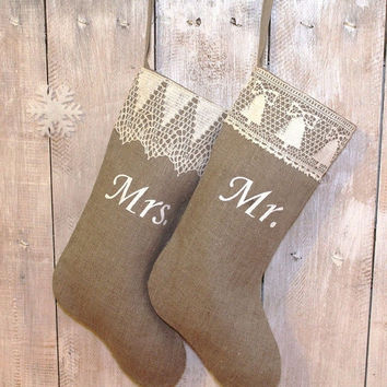 Personalized Handmade Christmas stockings    Mr and Mrs Christmas stocking   Custom stocking Scandinavian Christmas stocki