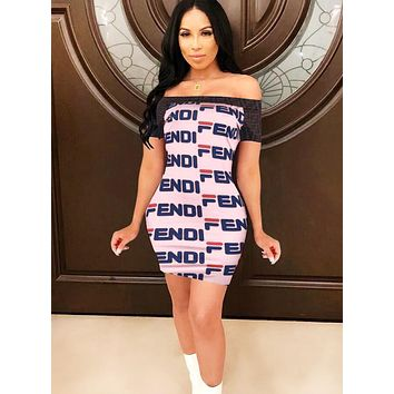 Fendi Women Summer New Fashion More Letter Print Contrast Color Leisure Strapless Shorts Sleeve Dress Pink