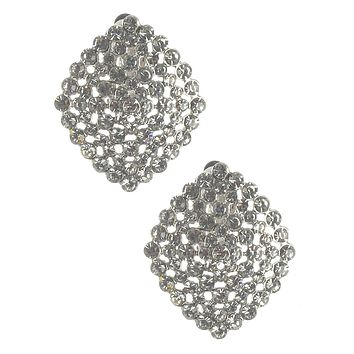 Silver Crystal Stone Cluster Clip On Earrings