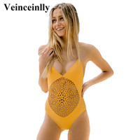 Yellow braided circle crochet one piece swimsuit Swimwear Women 2017 body suit hollow out Bathing suit Backless beach wear V329