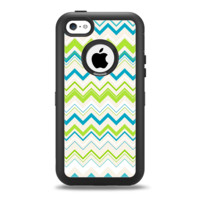 The Green & Blue Leveled Chevron Pattern Apple iPhone 5c Otterbox Defender Case Skin Set
