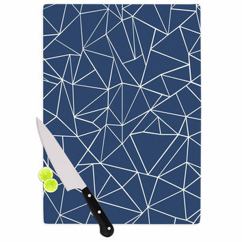 """Project M """"Abstraction Outline Navy"""" Blue Abstract Cutting Board"""
