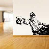 Wall Decal Vinyl Sticker Corner Decals DJ Mix Waves Music Audio Gift Sketch Like paintings (z3108)