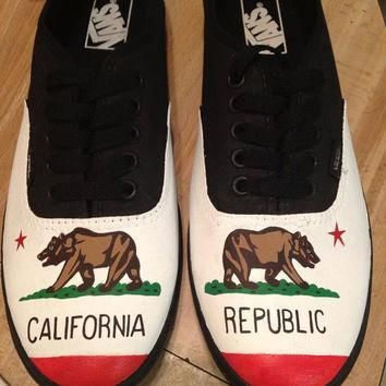 VANS California Flag Shoes - Hand Painted