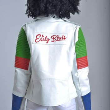 WOMEN MOTO JACKET  white blue and green
