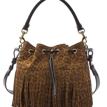 SAINT LAURENT 'YSL' Emmanuelle Fringed Sac Bucket Bag Leopard Print Suede Leather 372453