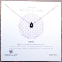 dogeared healing gem onyx pendant necklace in gold dipped