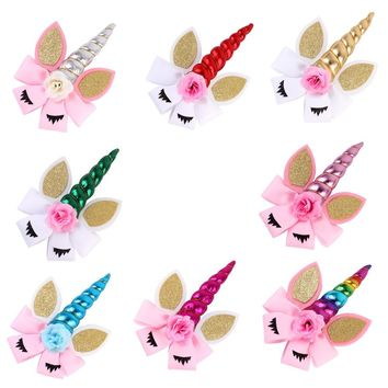 2018 1PC Unicorn halloween hair clip For Girls And Kids DIY Felt Chiffon Flower unicorn hair clip girl hearwear