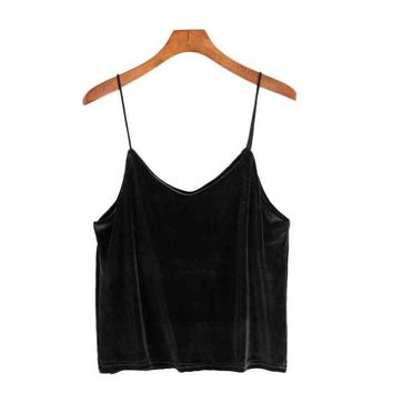Top Cropped For Women Velvet Camisole Summer Women Backless Sexy V-Neck Korean Camisole Chalecos Mujer#212