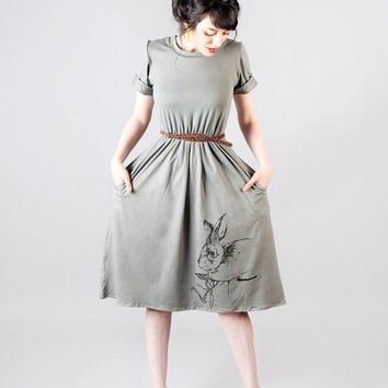 Grey Tee shirt dress with screen printed Woodland rabbit print